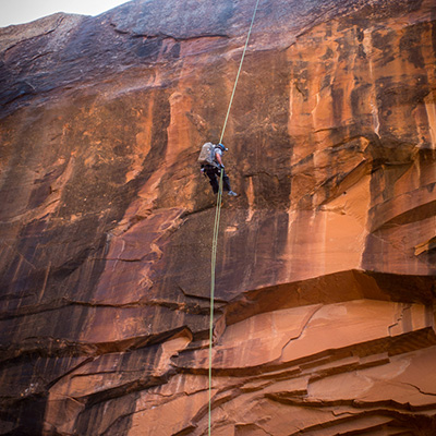 Crew Adventures - Kate Giebink and Cyrus Dietz - Cyrus 100' Rappel Morning Glory Bridge