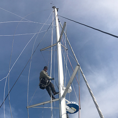 Crew Adventures - Cyrus Dietz - Working the Mast in The Gulf