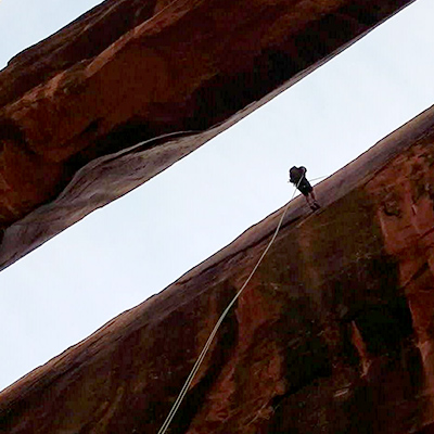 Crew Adventures - Kate Giebink - 100' Rappel of Morning Glory Bridge, Moab, Utah