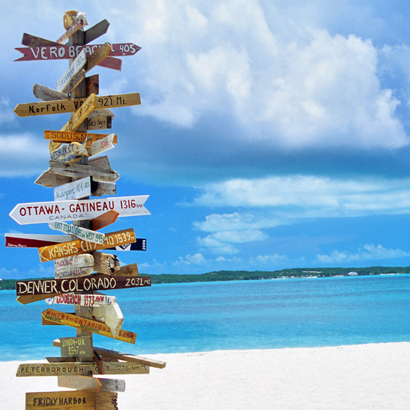 Signs at Stocking Island, The Exumas, Bahamas