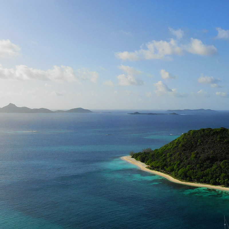Drone View of Petite St Vincent, Union, Palm Island and Mayreau - The Grenadines